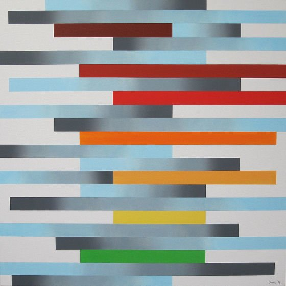 Abstract painting with orange, red and yellow stripes with blue and grey