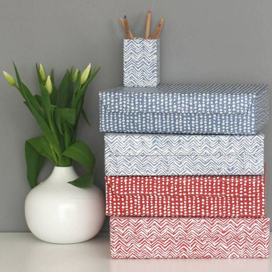 A4 decorative home storage boxes in blue and red graphic patterns