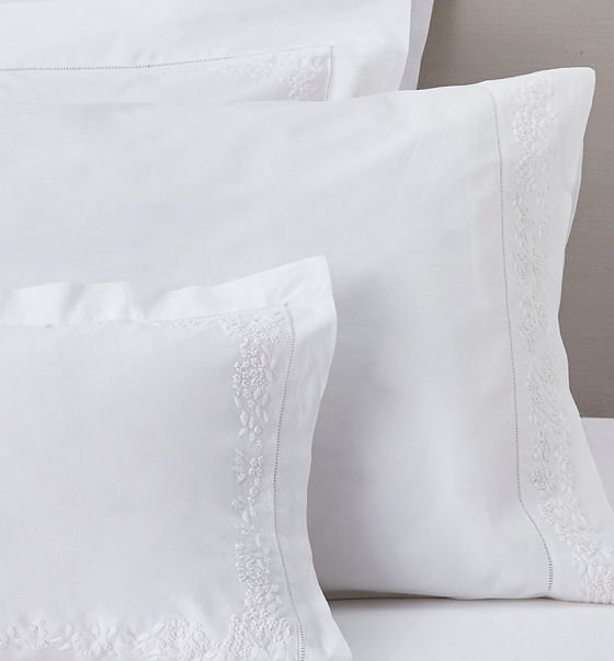 Fresh and stylish white cotton summer bedlinen: The White Company Adeline Collection