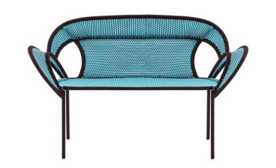 Moroso Banjooli colourful outdoor sofa in blue with black trim