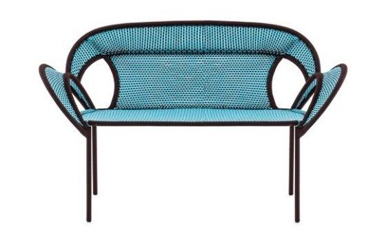 Moroso Banjooli colourful outdoor sofa in blue with black trim