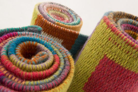 Angie Parker colourful woollen handwoven rugs, detail