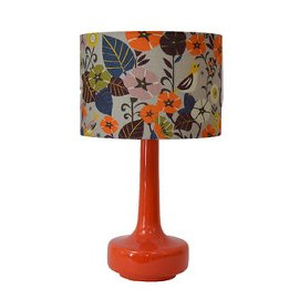 Orange mid centrury style table lamp with floral shade by Winters Moon