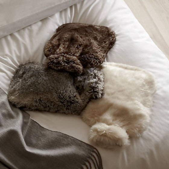 Faux fur hot water bottle covers from John Lewis