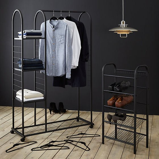 John Lewis Clothes Rail and Shelf Unit abd Shoe Rack in Black, ideal storage solutions for small spaces