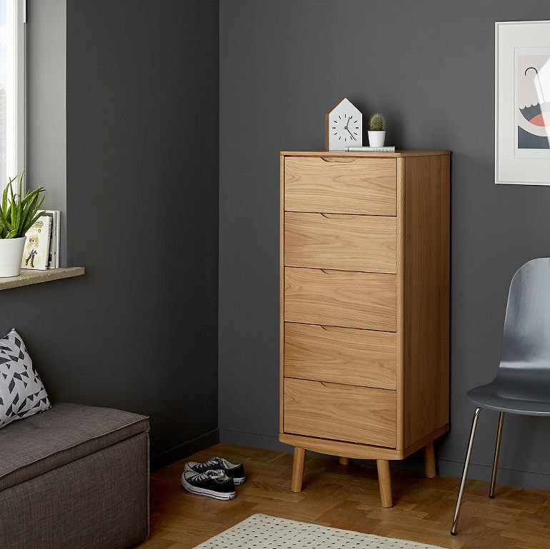 John Lewis Bow 5 Drawer Tall Boy chest of drawers for small spaces
