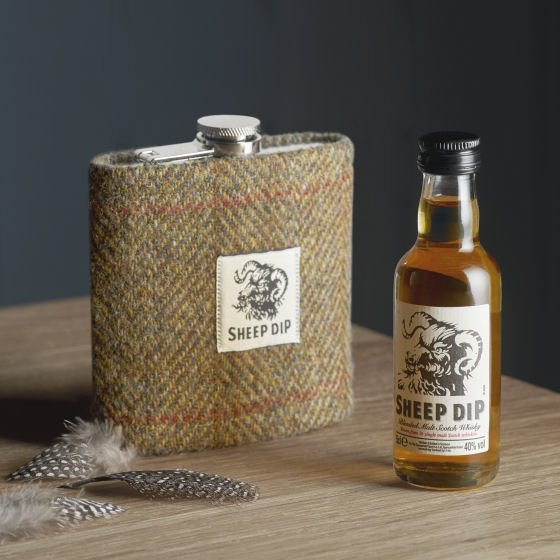 Spencerfield Spirits Sheep Dip Gift Set with tweed covered flask and whisky miniature