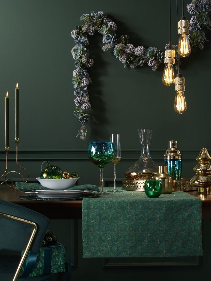 Emerald green Christmas decorations from John Lewis & Partners