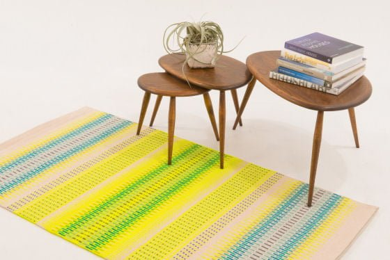 Angie Parker Wool Handwoven Rug in yellow, cream and blue