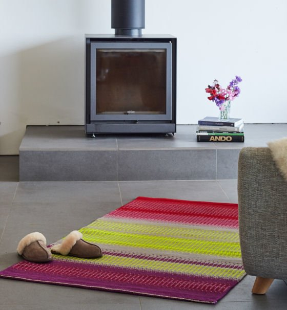 Colourful handwoven wool rug by Angie Parker Textiles