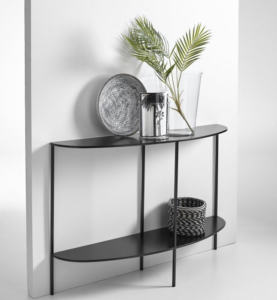 Anya half-moon black metal console table with storage