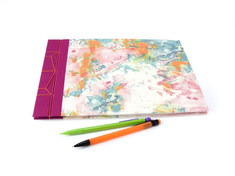 colourful handmade A4 hardback marbled journal