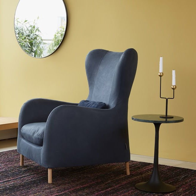 Smithfield leather wingback contemporary armchair by Habitat in blue