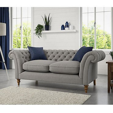 Contemporary chesterfield sofa in grey fabric by Marks & Spencer