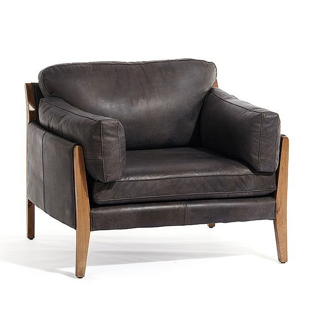 Brown leather armchair with wooden frame from Lombok