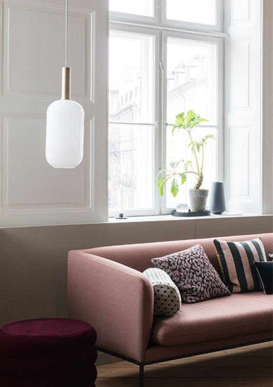 Ferm Living Collect Lighting Tall Opal Shade and Brass Socket with pink sofa