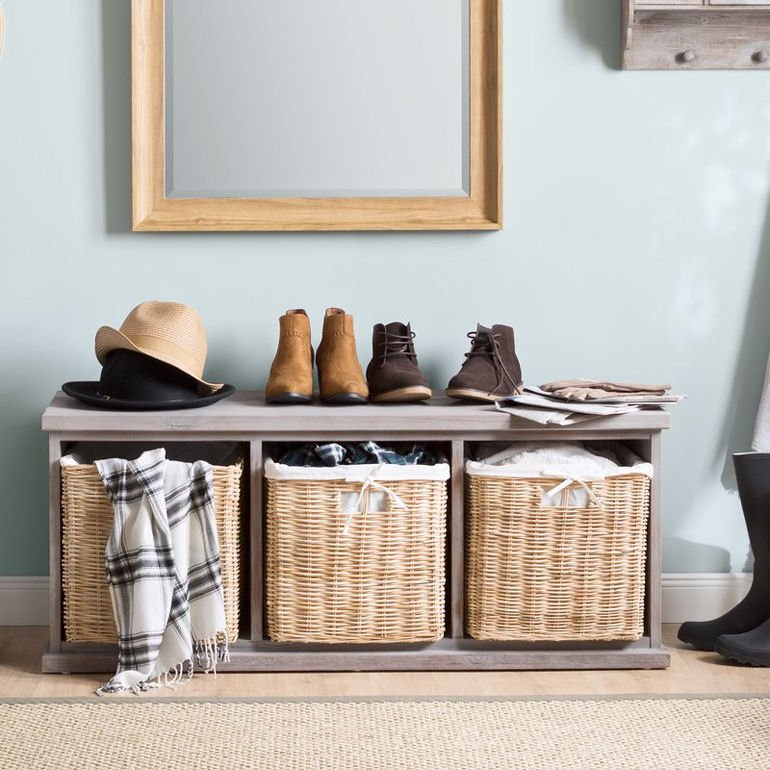 Wood hallway storage bench with baskets from Wayfair UK