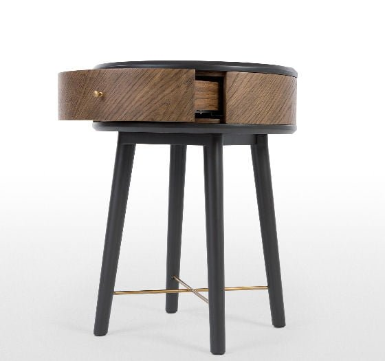 Belgrave black and walnut small side table with storage drawer