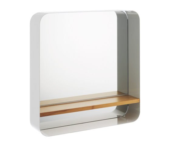 Habitat Bethany white metal square mirror with wooden shelf