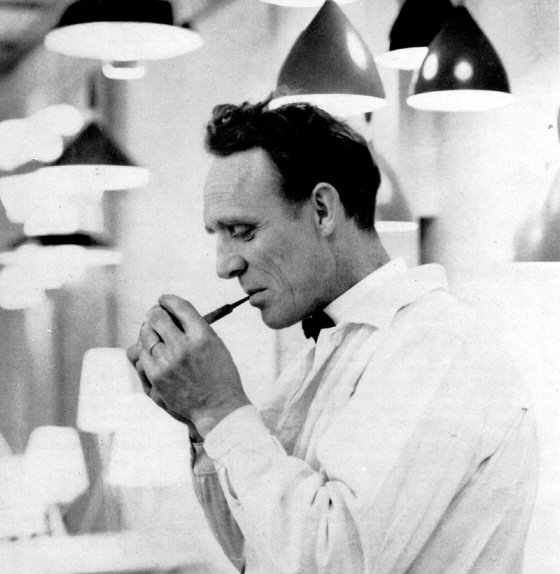 Dokka pendant lamp designer Birger Dahl black and white photograph