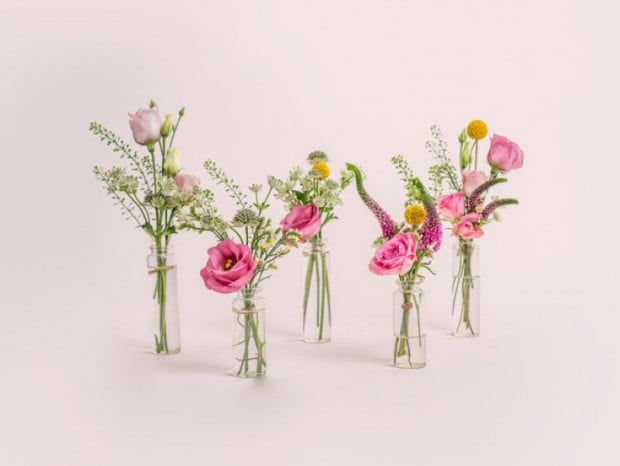 Posy Party five mini bottles with pink summer flowers