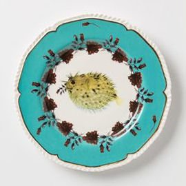 China plate with turquoise border and blowfish