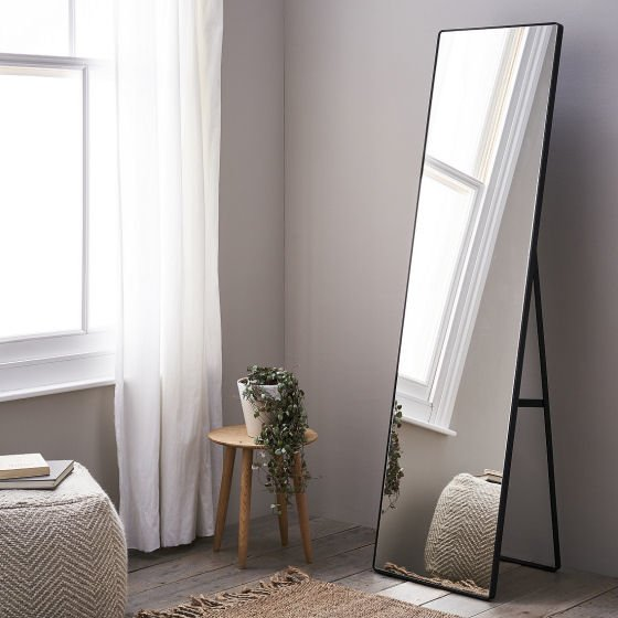 The White Company Chiltern Thin Metal Floor Mirror with black steel frame