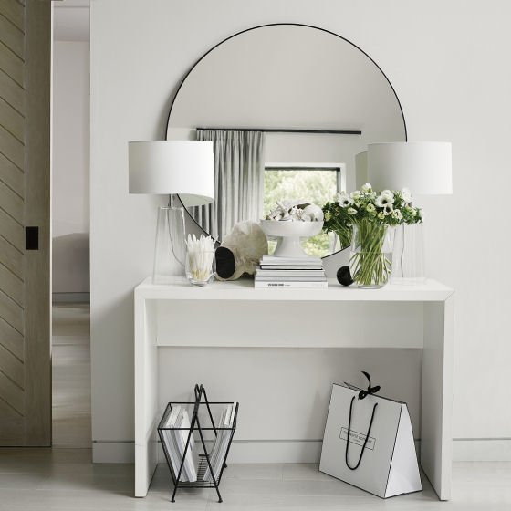 Chiltern Thin Metal Mirror Collection - large round metal mirror above white dressing table