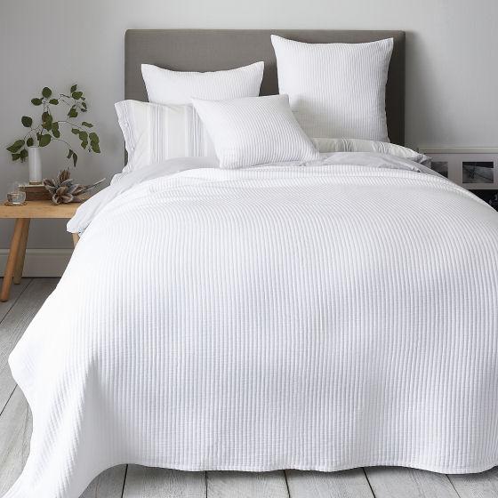 White cotton bedspread by The White Company, Classic Rib Bedspread