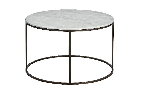 Marks and Spencer Conran Farley round marble coffee table with white top and grey metal base