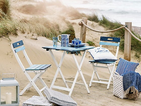 John Lewis Salcombe Bistro Set in blue in beach setting