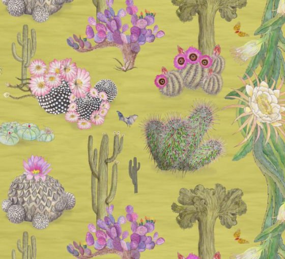 Newton Paisley Cactus Mexicanos linen fabric in pink and green