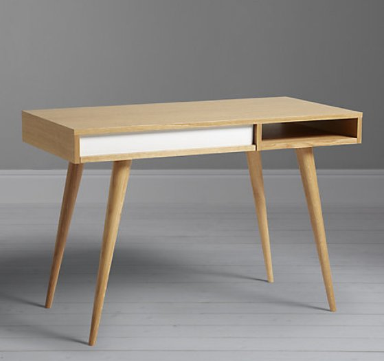 Oak and white small home desk for small spaces by Case Furniture at John Lewis