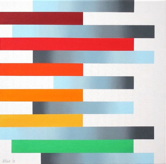Colourful abstract art by Cornelis Vink in oragne, red and blue/grey