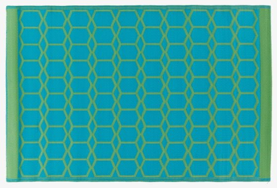 Green And Turquoise Geometric Outdoor Rug From Habitat