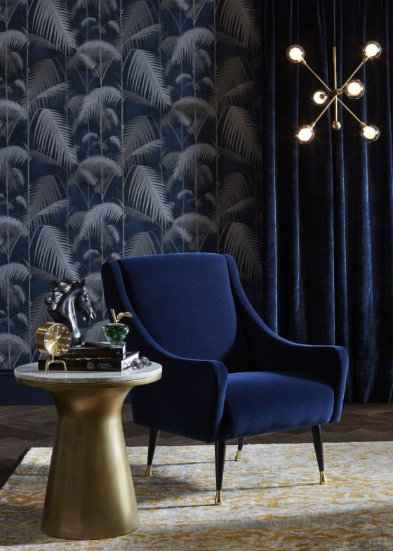 John Lewis furniture - blue velvet armchair and brass and marble side table