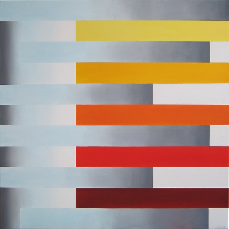 Striped geometric painting by Cornelis Vink
