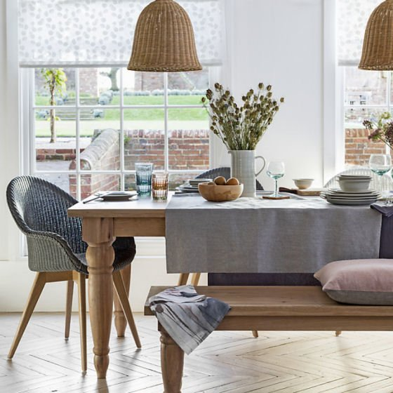 Croft Collection Easdale wooden dining table and bench with matching chair and tablelinen