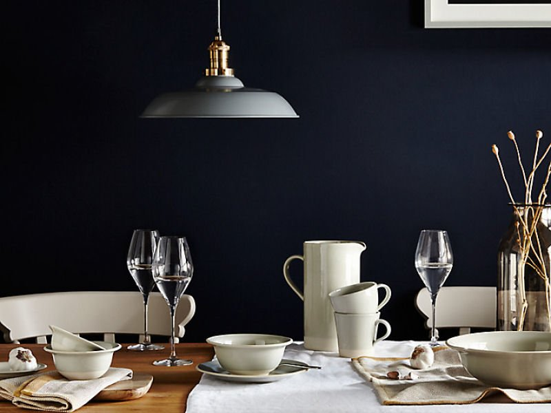 Croft Collection Tableware by John Lewis against dark blue wall