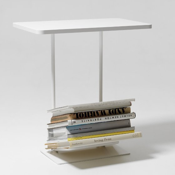 White Side Table with storage for magazines by Design House Stockholm