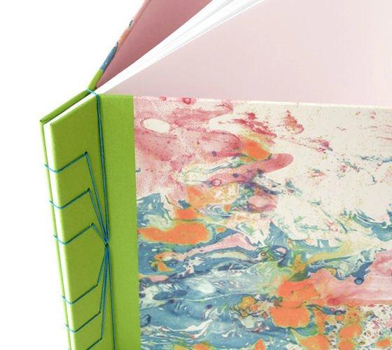 Japanese stab binding detail on contemporary handmade journal