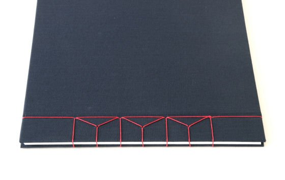 Dark blue A4 hardback handmade journal with red linen Japanese stab binding