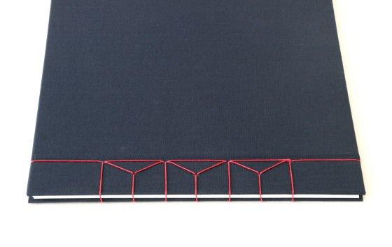 Dark blue A4 hardback handmade journal with red linen Japanese stab binding