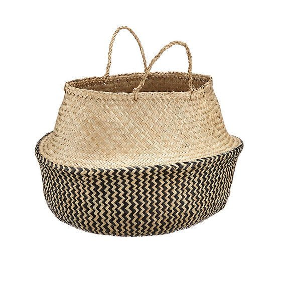 John Lewis Dakara Seagrass Storage Basket with momochrome zigzag pattern