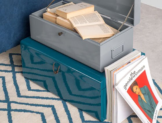 Made.com metal Daven Storage Boxes with leather closures in teal and grey