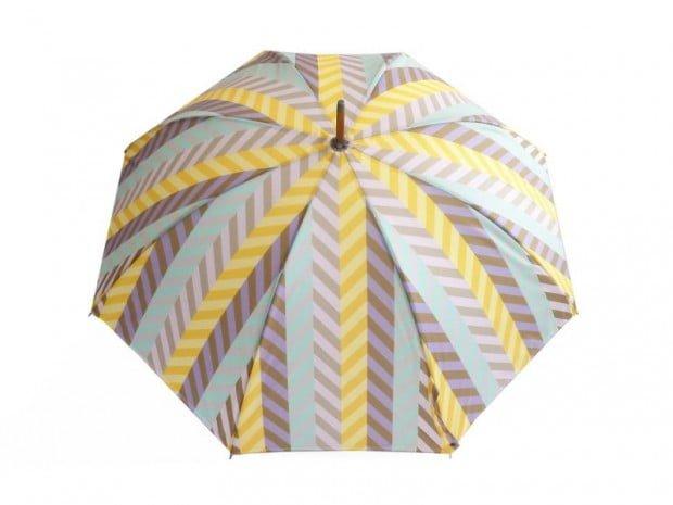 David David umbrella with geometric pattern in gellow blue and grey