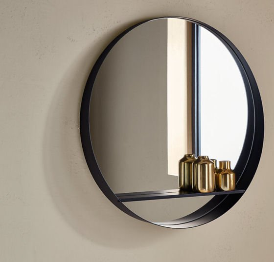 John Lewis round mirror with shelf in black
