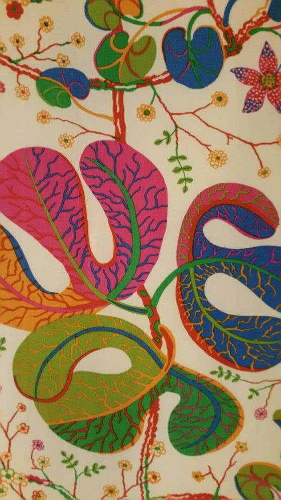 Detail of colourful Josef Frank upholstery textile design