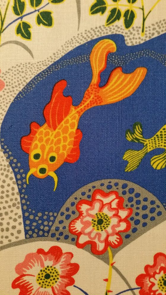 Detail of Josef Frank interiors textile design with colourful fish and flowers