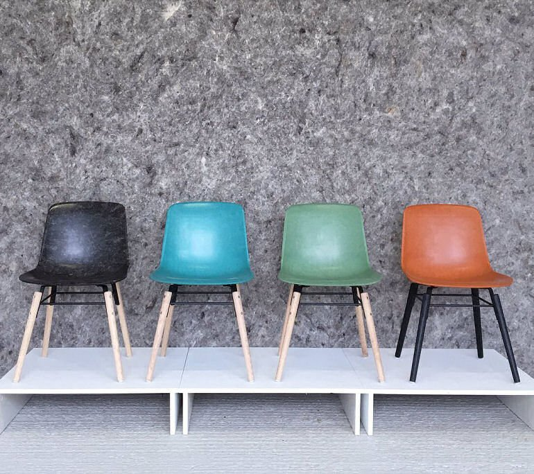 Solidwool Hembury chairs in grey, turquoise, green and orange